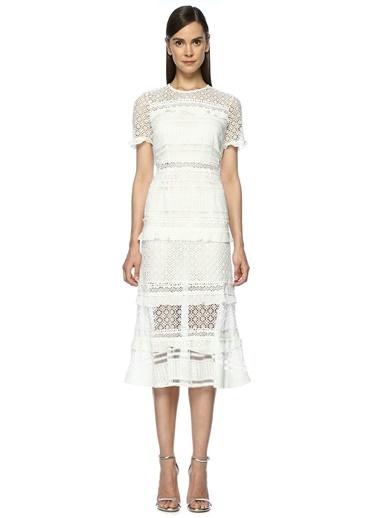 Dantelli Beyaz Midi Elbise-Foxiedox